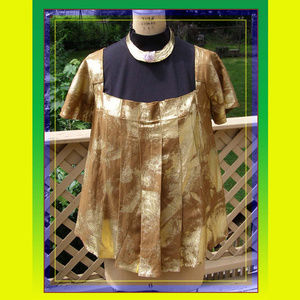 NEW Tata Jolie Pleated Boho Top M 8-10 Gold shine